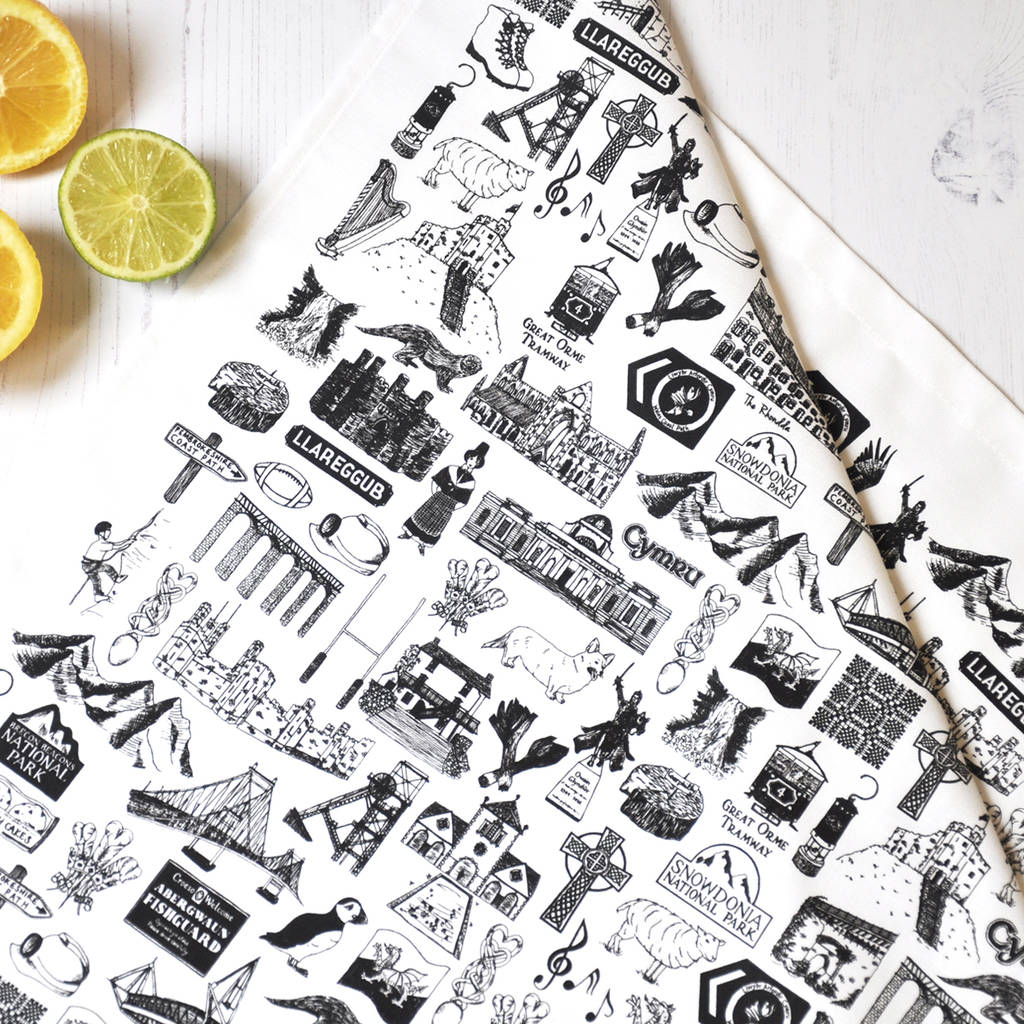 Wales Illustrated Black And White Tea Towel