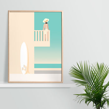 The Surf House Balcony, California. Art Print