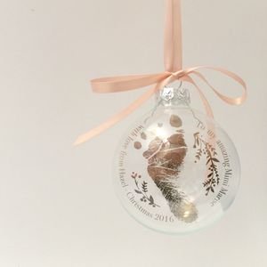 Baby's First Christmas Foot Print Personalised Bauble - new baby gifts