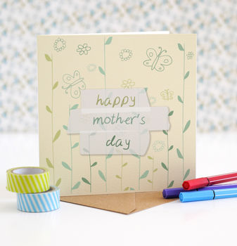 Happy Mother's Day Card, Flowers And Butterflies