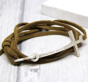 Mens Personalised Cross Leather Bracelet