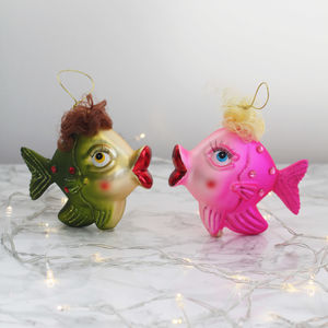 Colourful Kitsch Fish Glass Christmas Decorations - christmas sale