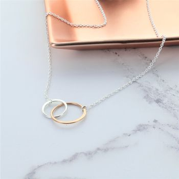 Rose Gold And Silver Infinity Ring Necklace