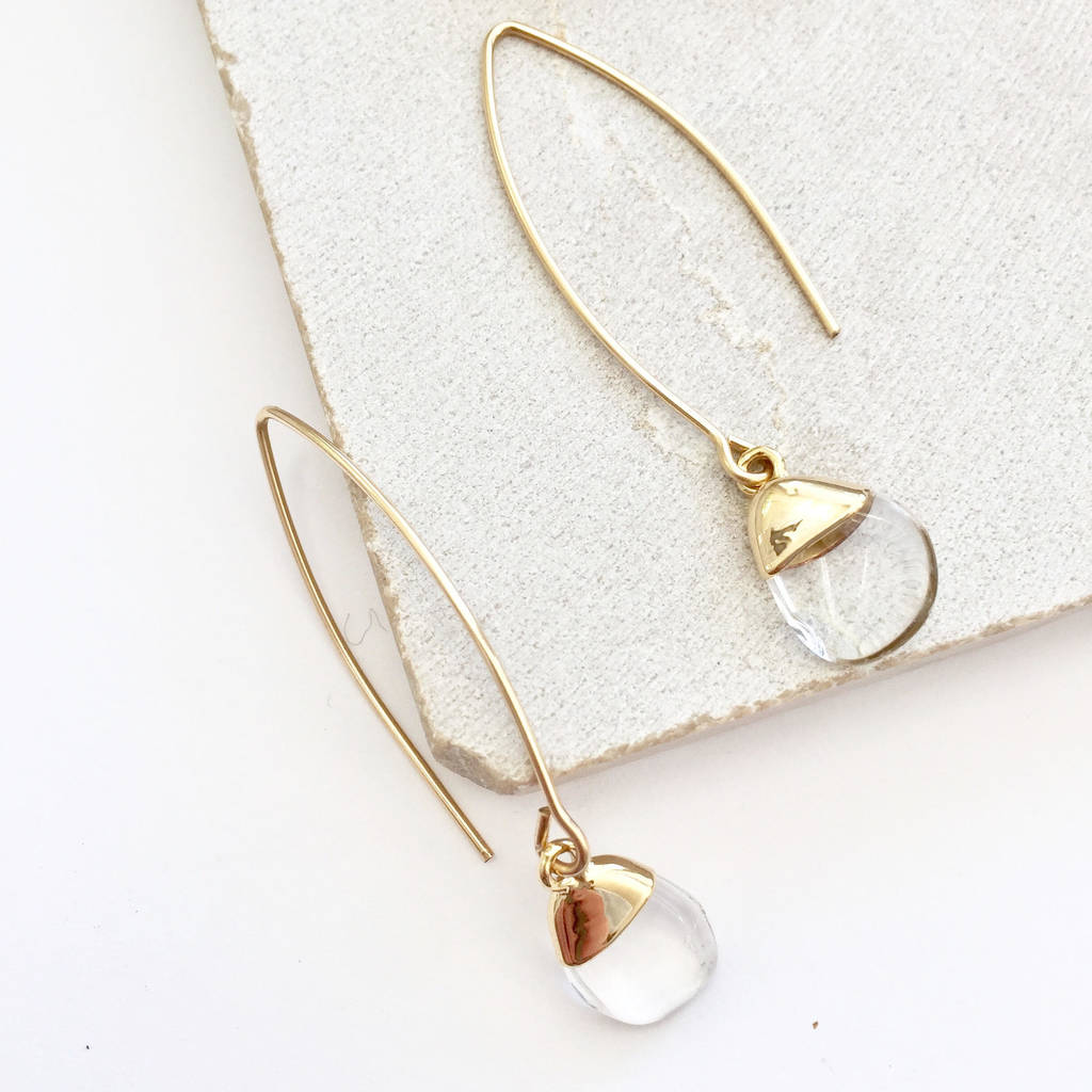 Mini Gemstone Geometric Dropper Earrings