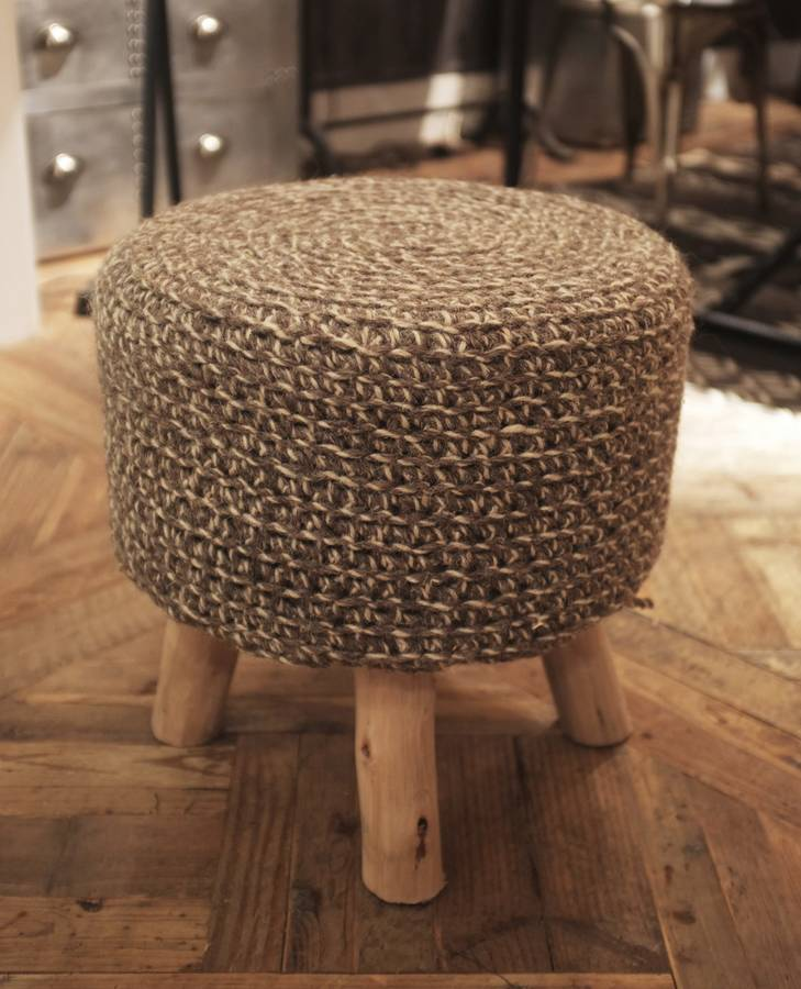 100% Wool Top Stools Brown