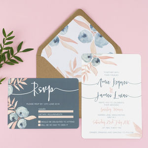 Berry Blush Wedding Invitation And RSVP - wedding stationery