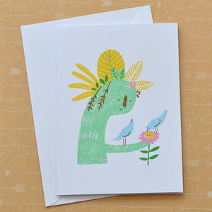 Birds With Plant Sculpture Hand Screenprinted Card - winter sale
