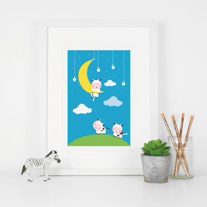 Cow Didn't Make It Over The Moon Nursery Rhyme Print