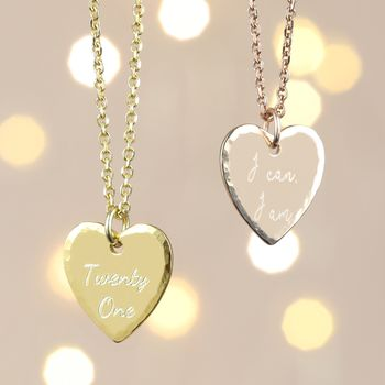 Personalised Vermeil Hammered Heart Necklace