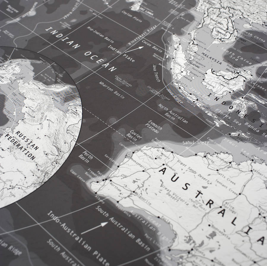 black and white world map. black and white world map by the future mapping company