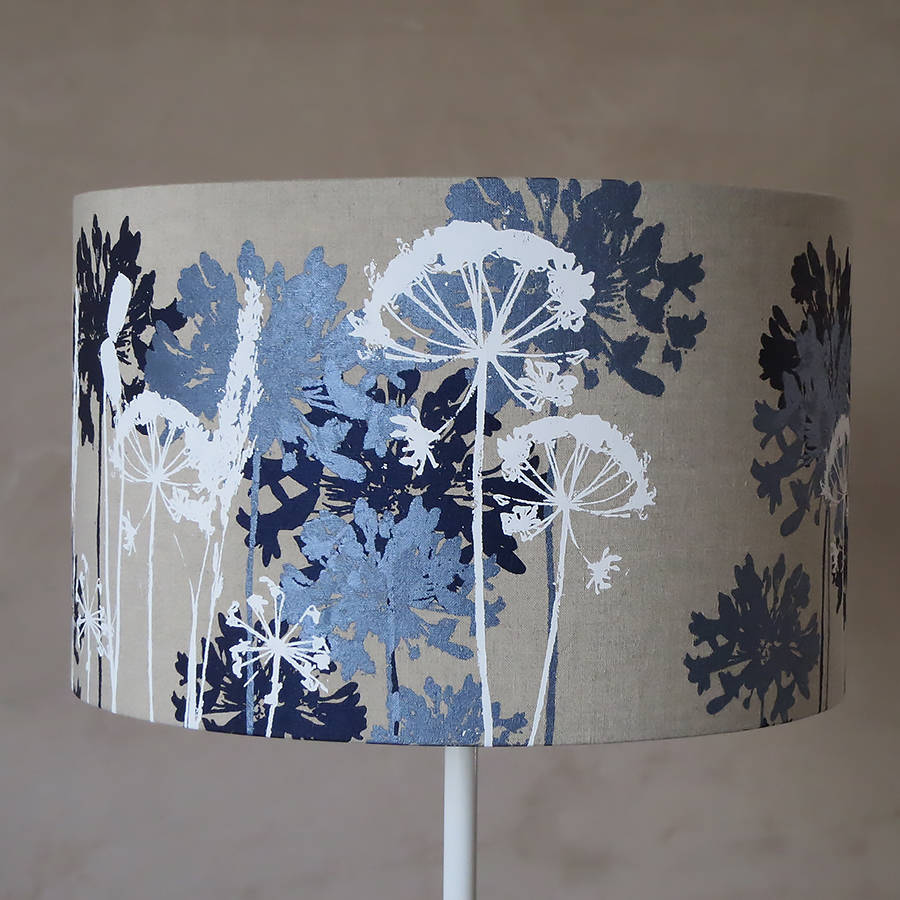 Navy Blue And White Floral Linen Lampshade By Emma Purdie