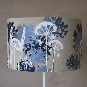Floral Printed Linen Lampshade Navy, Blue And White - bedroom