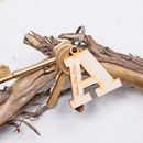 Personalised Large Initial Wooden Keyring