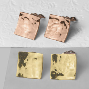 Gold Wavy Square Textured Clip On Earrings