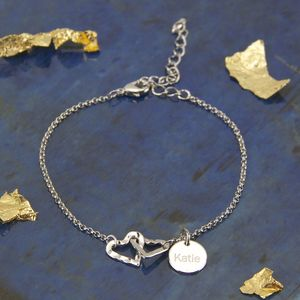 Personalised Hammered Linked Hearts Bracelet