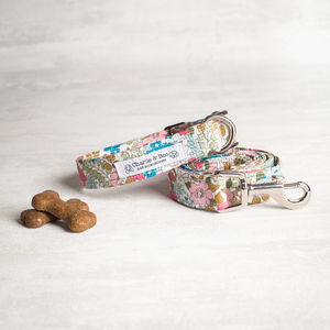 Pink And Blue Floral Dog Collar And Lead/Leash Set - dogs