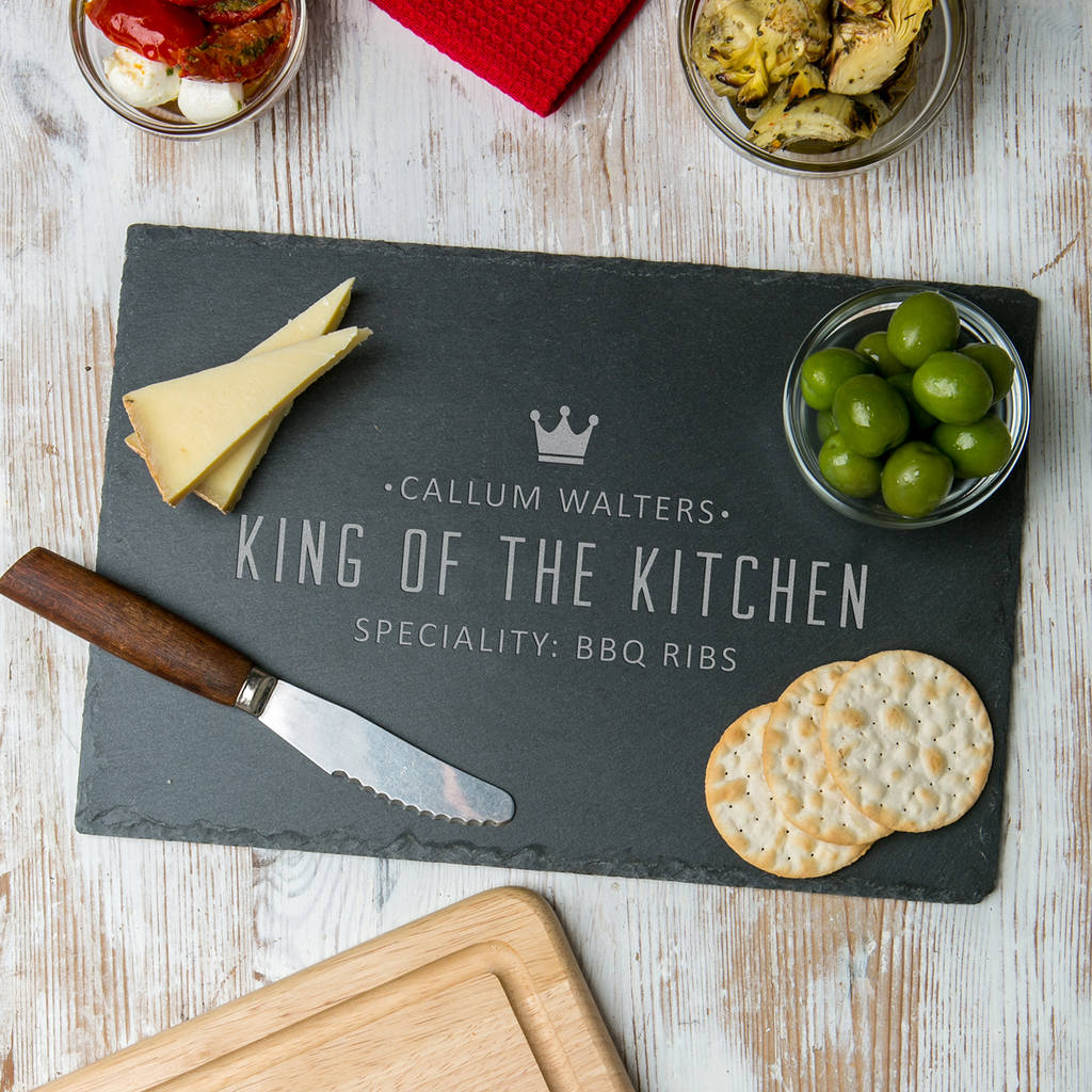 Personalised 'King Of The Kitchen' Slate Serving Board