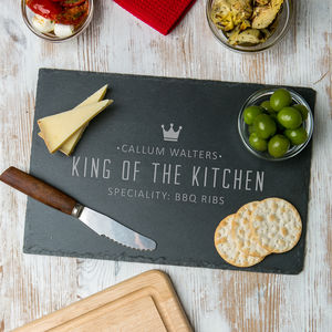 Personalised 'King Of The Kitchen' Slate Serving Board - kitchen accessories