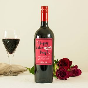 'Happy Valen Wine's Day' Personalised Wine