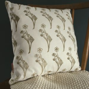 Wild Flower Hand Printed Linen Cushion Cover
