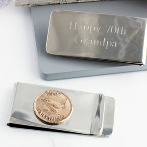 Farthing 70th 1947 Birthday Coin Money Clip - summer sale