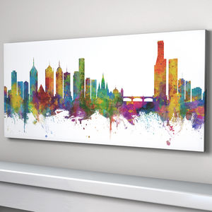 Melbourne Skyline Cityscape Art Print - architecture & buildings