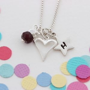 Personalised Childs Heart Necklace With Birthstones - children's jewellery