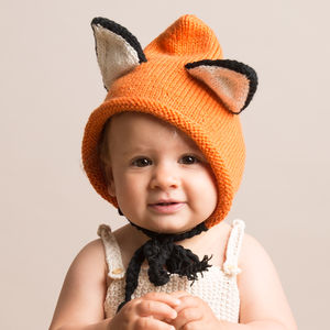 Hand Knitted Baby Fox Hats - winter sale