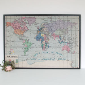 'Wonderful World' Embroidered World Map Noticeboard