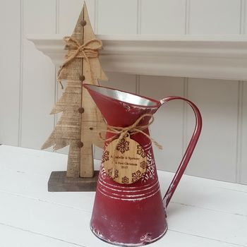Christmas Snowflake Red Jug With Oak Tag