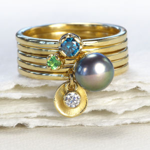 Stacking Rings – Set Of Five 18ct Gold Rings - gold