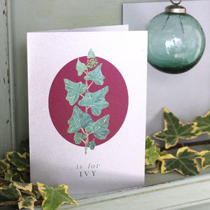 Silver Christmas Card Ivy - cards