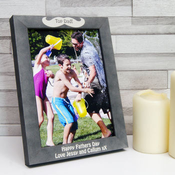 Personalised Stone Effect Moustache Photo Frame