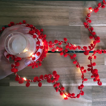 Red Pom Pom Fairy Light String