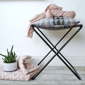 Cotton Canvas And Metal Frame Stool - furniture