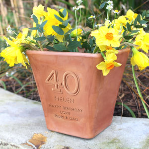 Personalised Birthday Engraved Terracotta Pot - 40th birthday gifts
