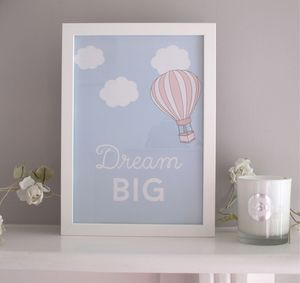 'Dream Big' Inspirational Home Childrens Print - pictures & prints for children