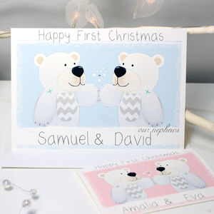 Personalised Bear Twins First Christmas Card - cards