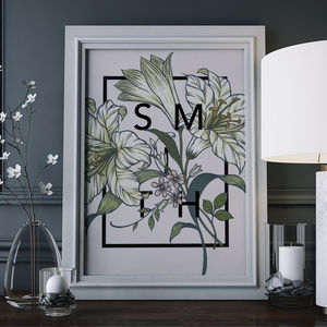 Personalised Lily Botanical Flower Print - personalised