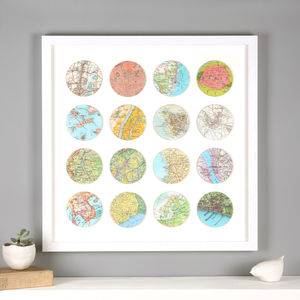 Sixteen Personalised Map Circles Print - maps & locations