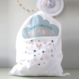 Personalised Snow Cloud Santa Sack - stockings & sacks