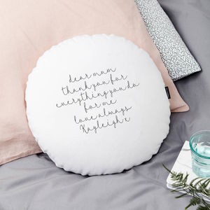 Personalised 'Dear Mum' Round Cushion - best mother's day gifts