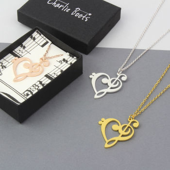 Heart Music Note Necklace