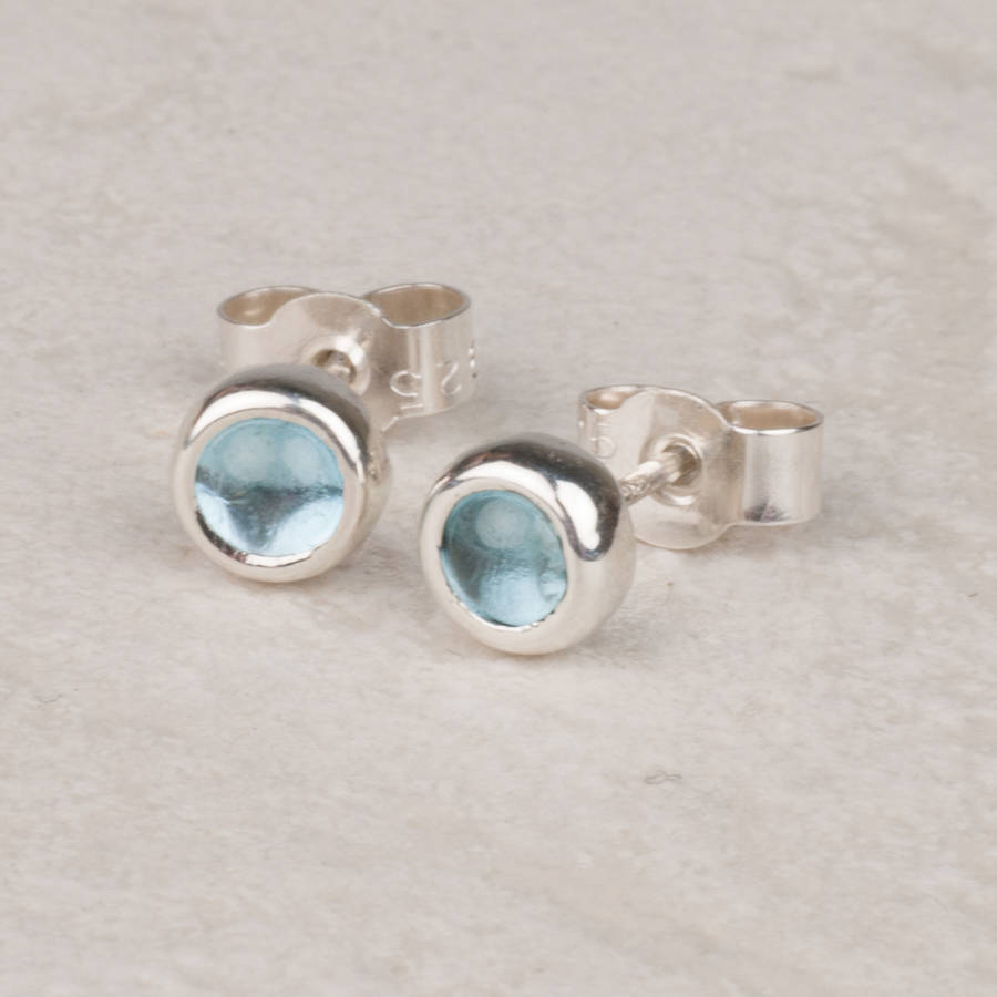 gold white genuine earrings blue stud swiss topaz round