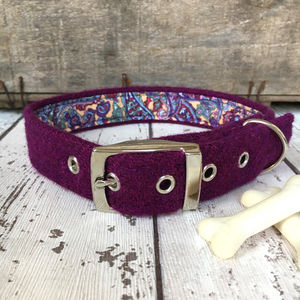 Purple Harris Tweed Dog Collar - dogs