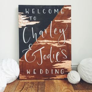 Modern Gold Diagonal Wedding Welcome Sign - room decorations