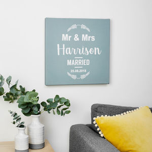 Personalised Mr And Mrs Wedding Date Canvas Print