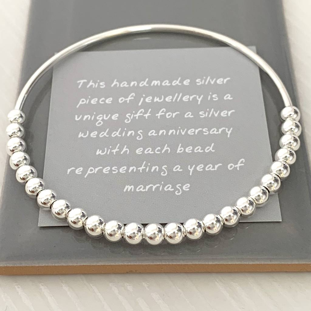 Gifts For Wedding Anniversaries: 25th Silver Wedding Anniversary Gift Bangle By Handmade By