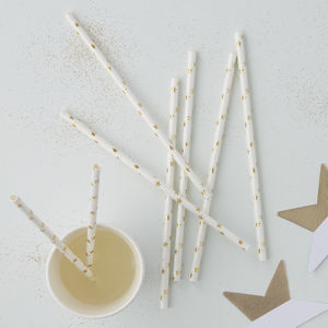 Gold Foiled Star Paper Straws