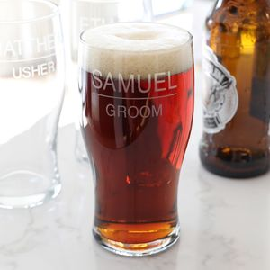 Personalised Groomsman Pint Glass